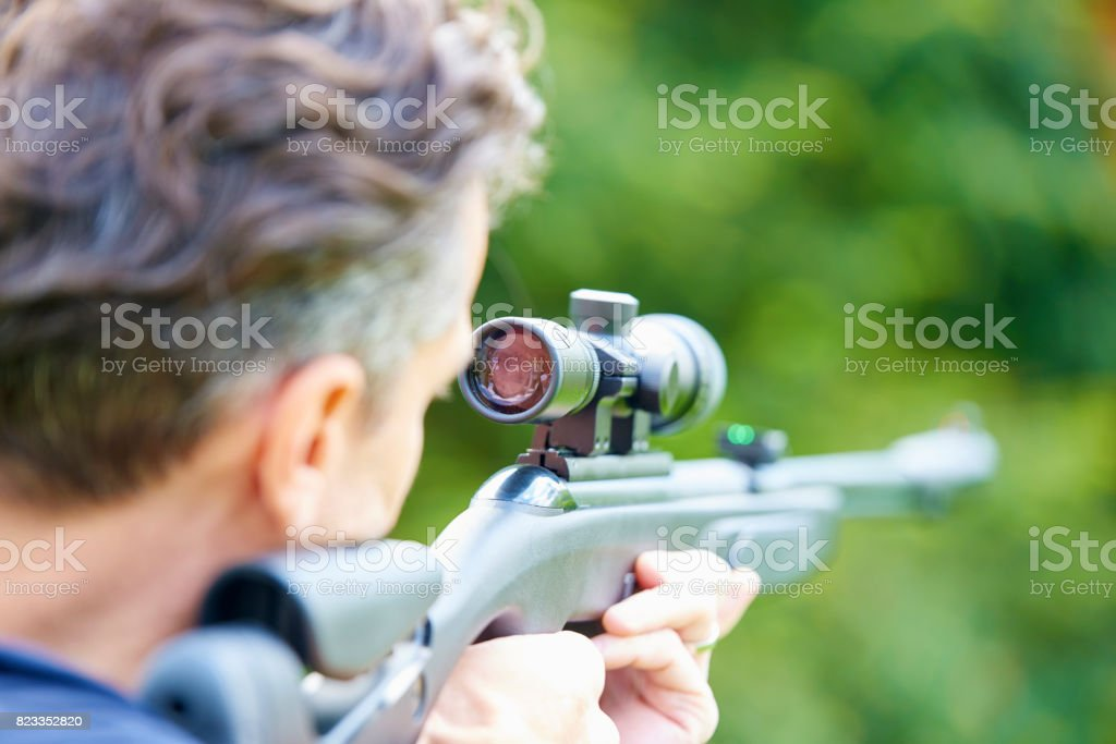 Aiming at a target stock photo