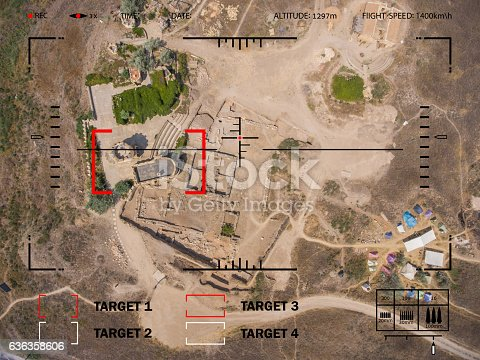 istock Aiming bomber to the target in the desert. Viewfinder plane. 636358606