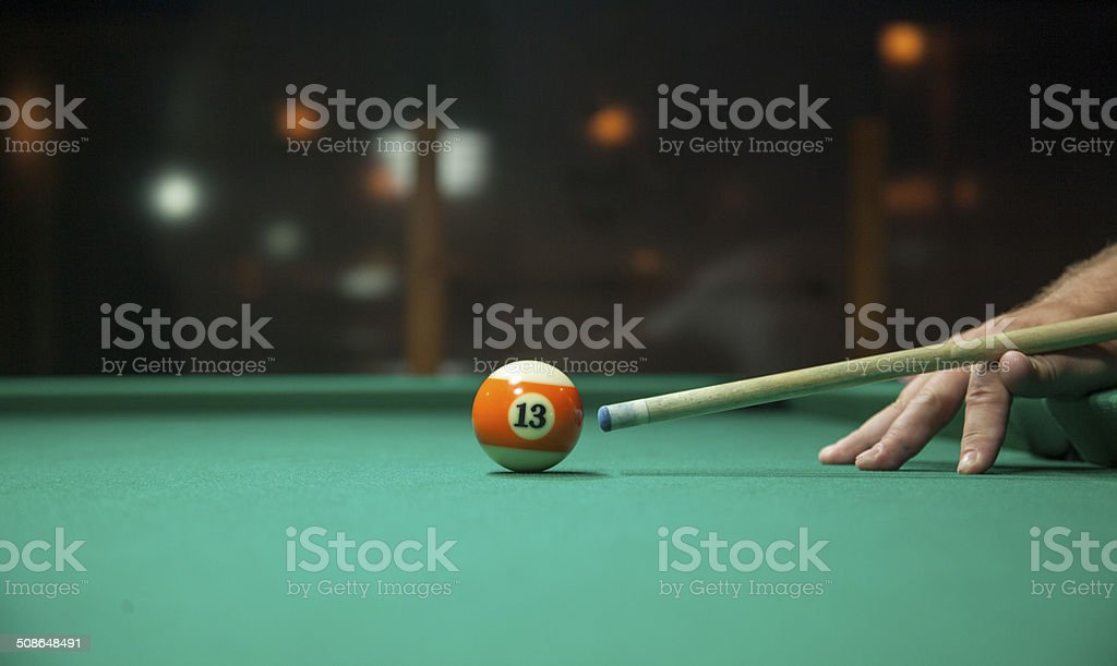 Aiming for a Pool Shot stock photo