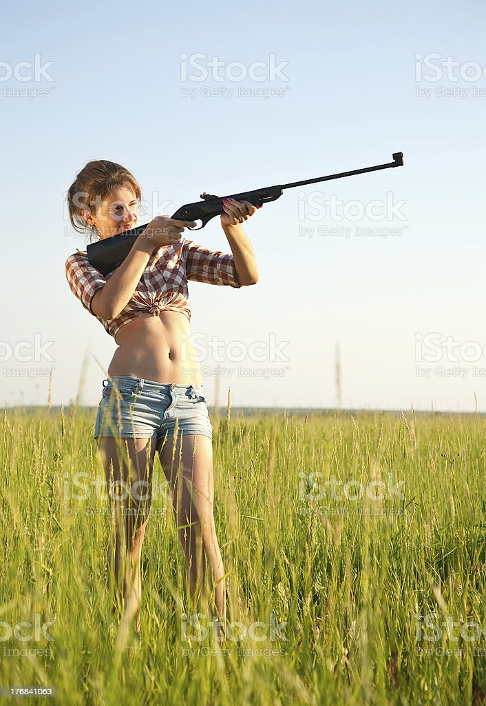 aiming girl stock photo