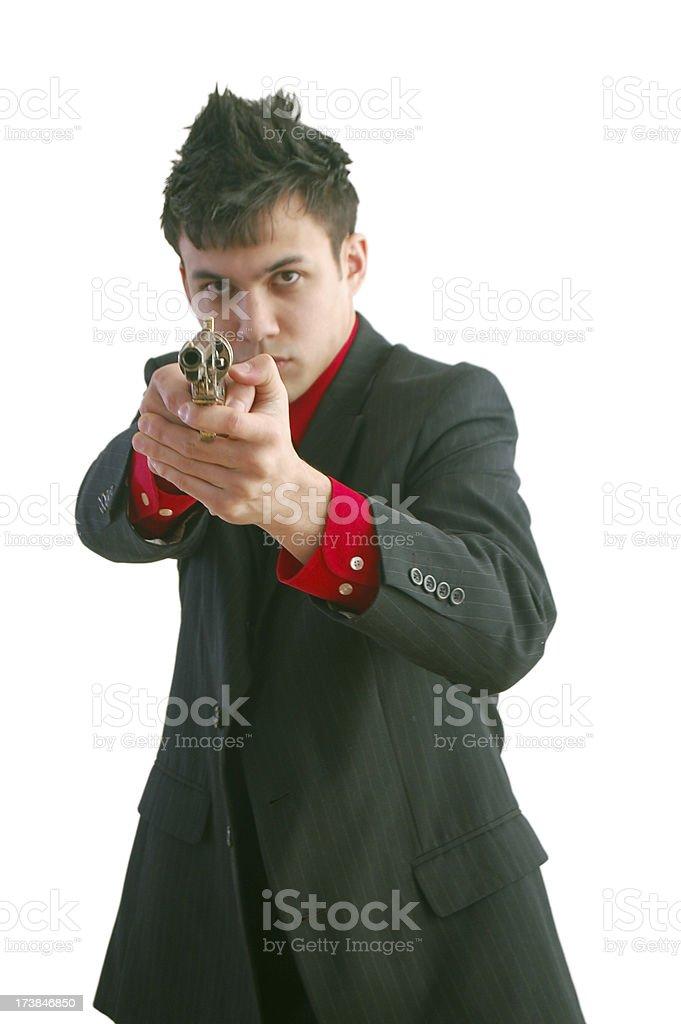 Aiming His Gun At You stock photo