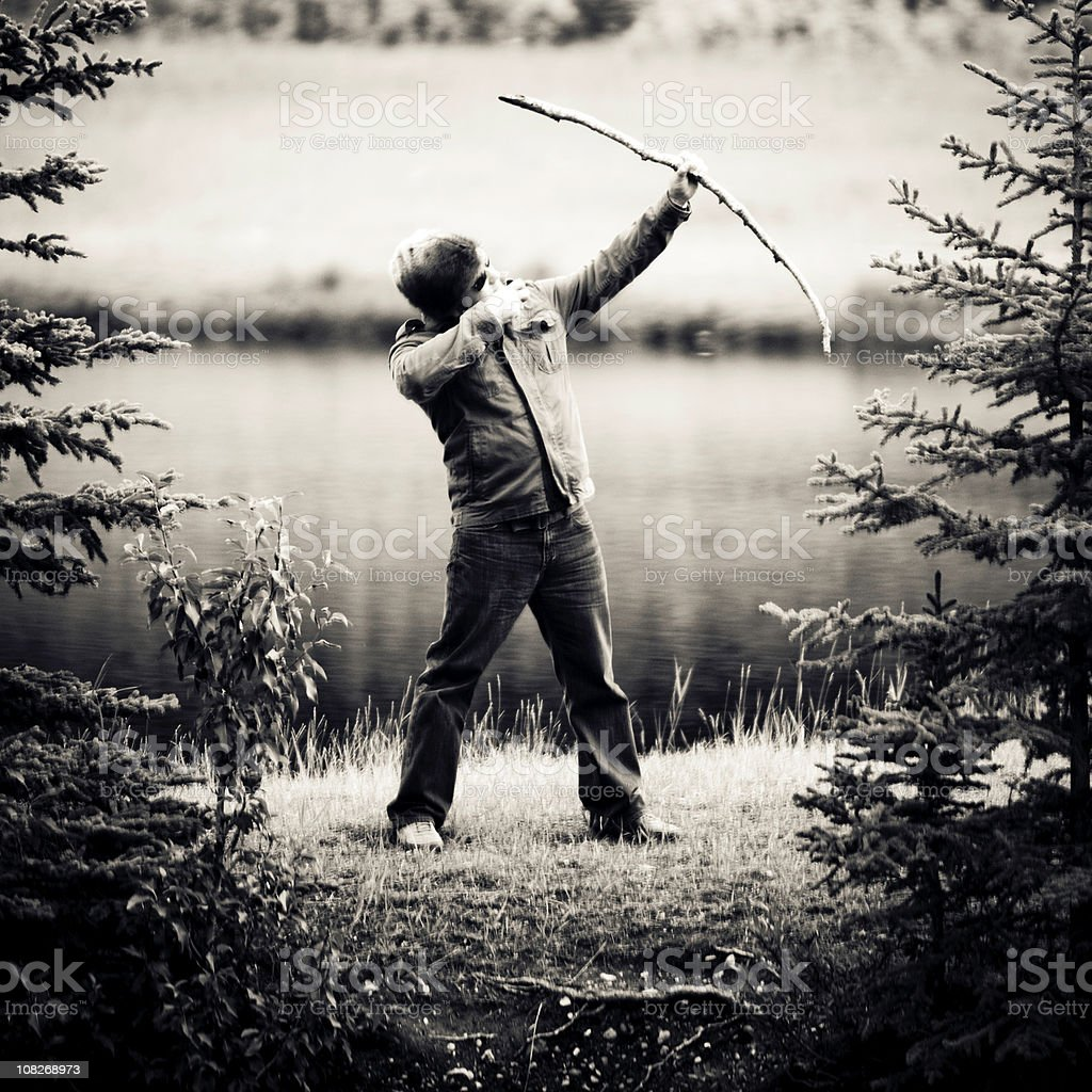 Aiming in the woods royalty-free stock photo