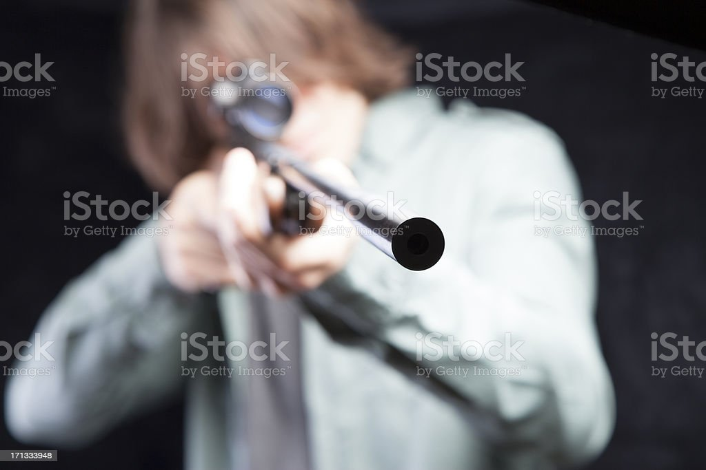 Aiming Rifle stock photo