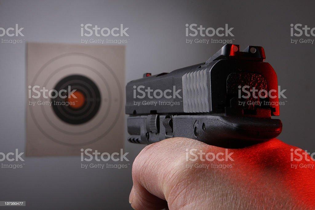 Gun pratice Aiming Target Shoot.