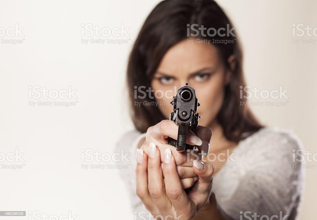 aiming with gun stock photo
