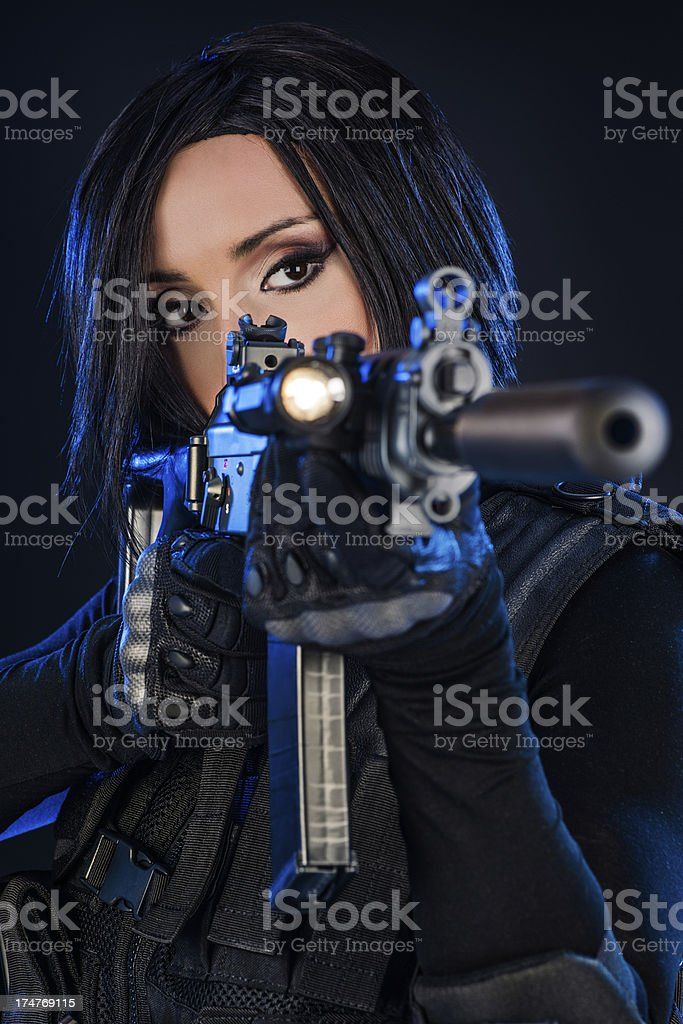 Aiming woman royalty-free stock photo