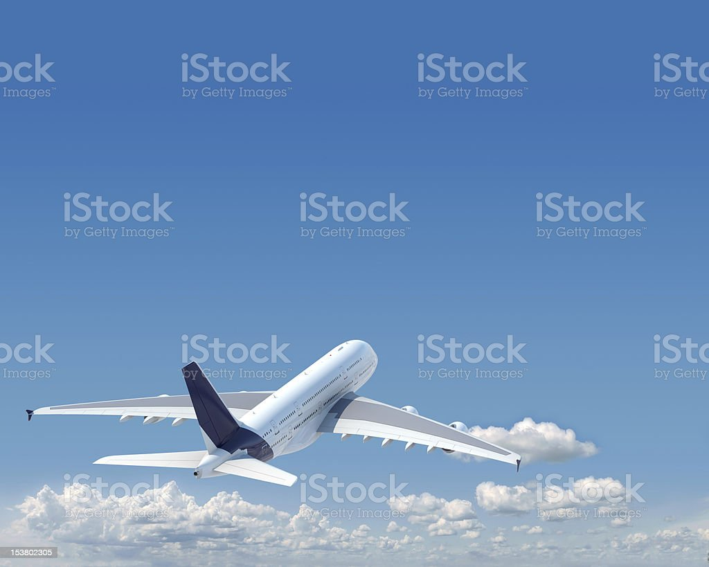 aiplane with copy space in the sky stock photo