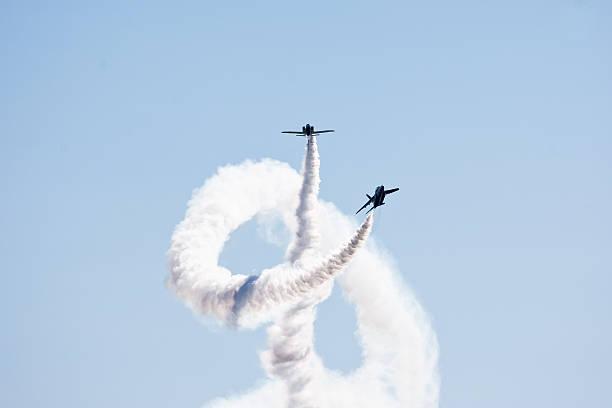 Air acrobat corkscrew stock photo