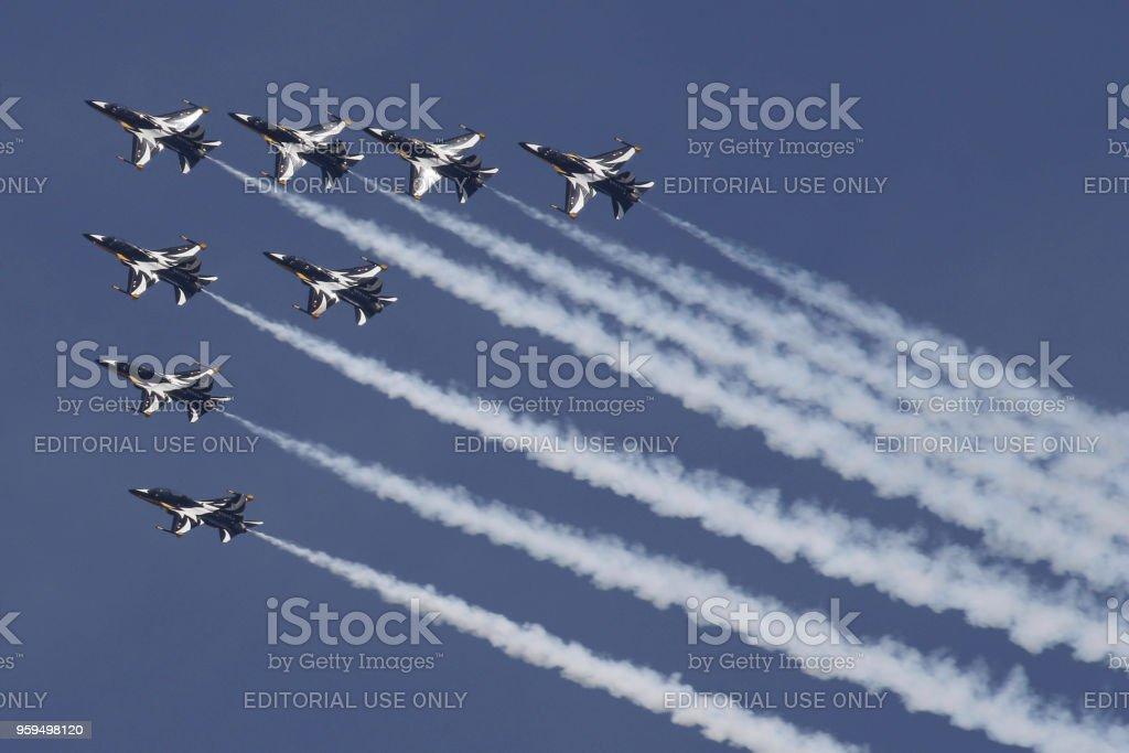 Acrobatic ar mostrar em Seul - foto de acervo