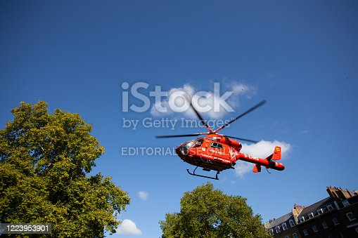 London, UK - October 12, 2009: One of two MD902 Explorer helicopters that service London.