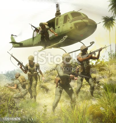 Air assault with light mobile infantry on helicopters during the Vietnam war, 3d render.