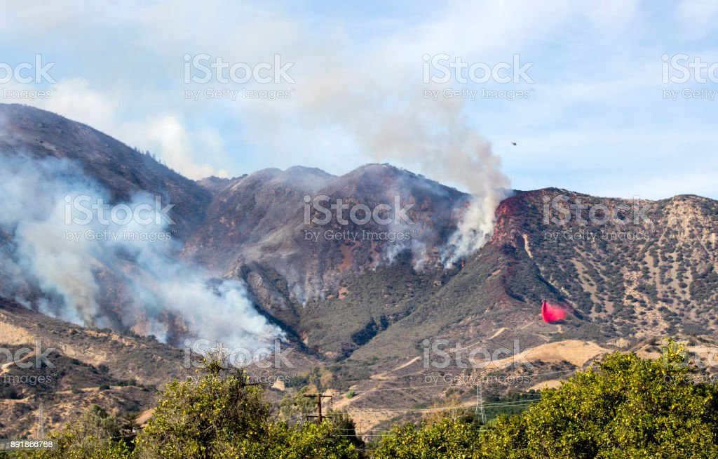 Air Attack on Thomas Fire Above Fillmore California stock photo
