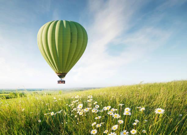 ballon d'air au-dessus de champ avec des fleurs à l'heure d'été. concept et idée d'aventure - montgolfière photos et images de collection