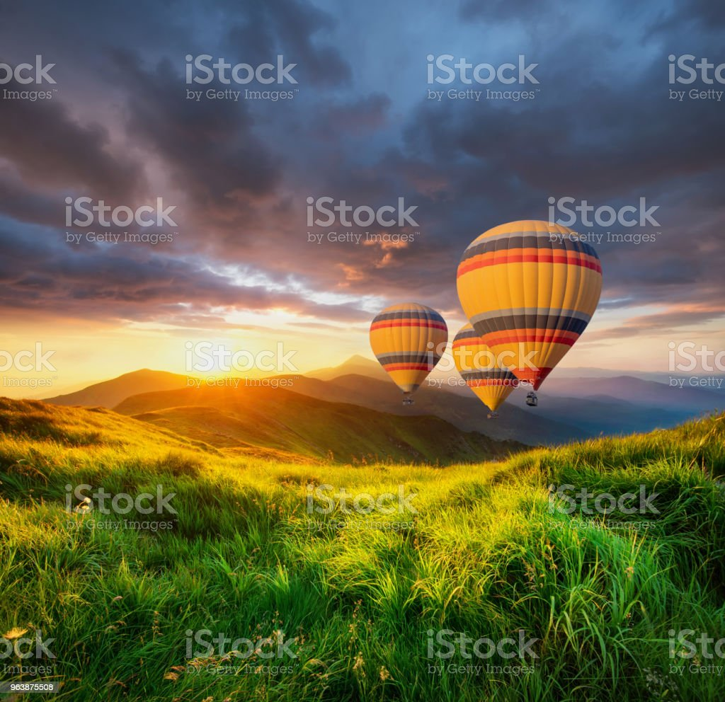 Air ballon above mountains at the summer time. Concept and idea of adventure - Royalty-free Aerial View Stock Photo