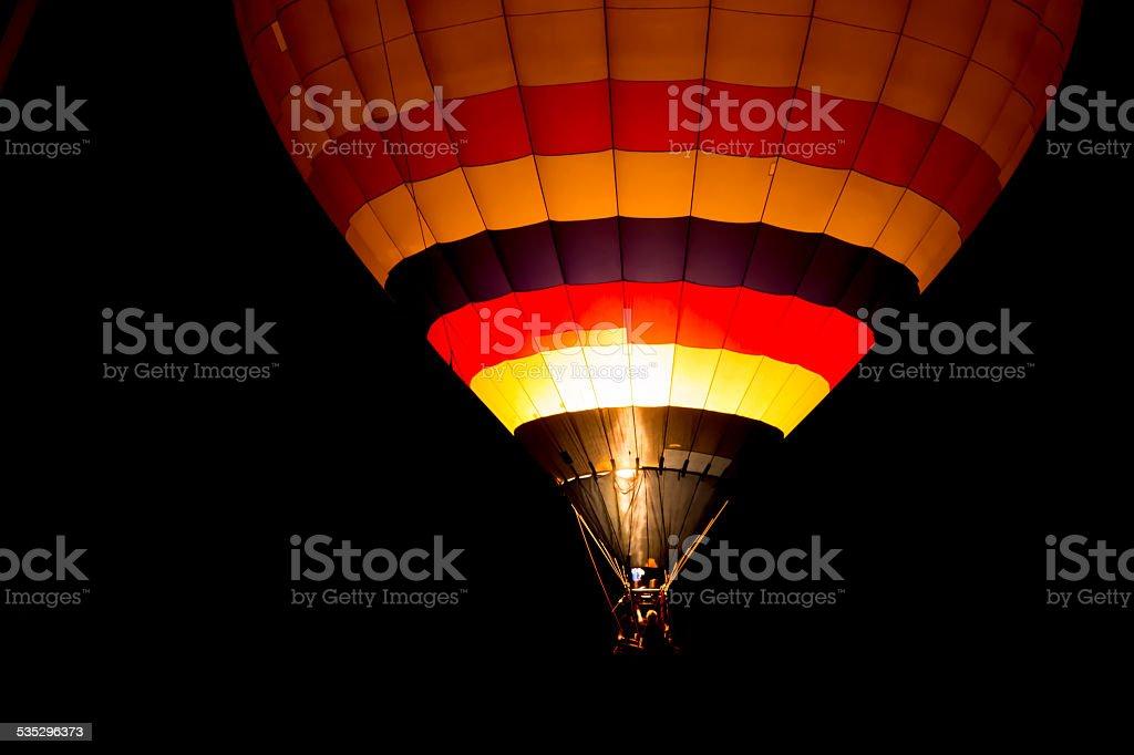 Air balloon at night stock photo
