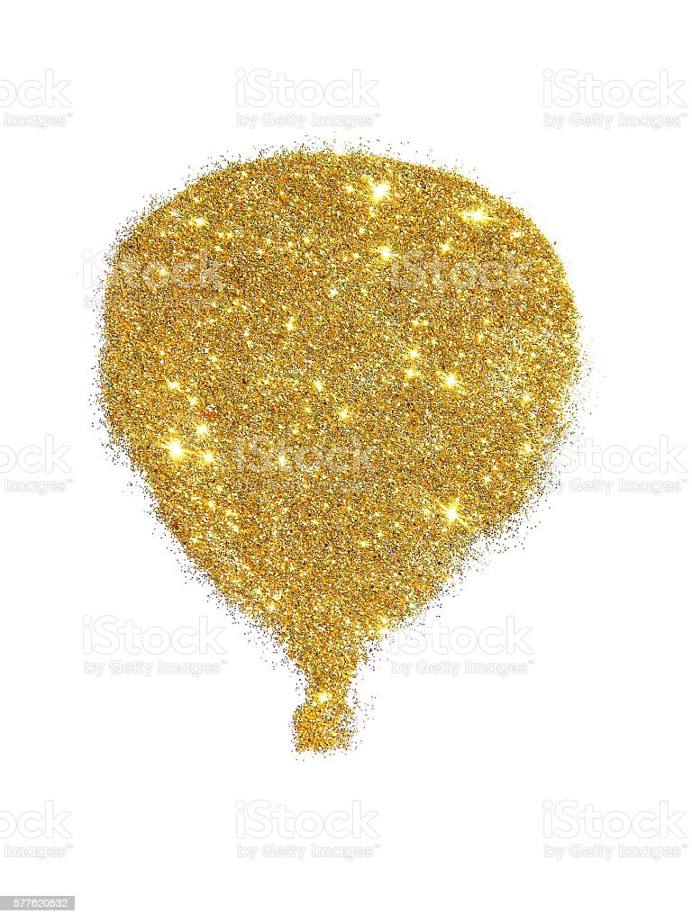 Air balloon of golden glitter sparkle on white background stock photo