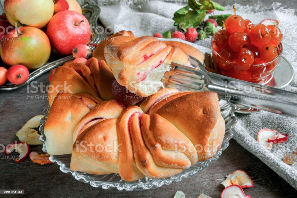 Air beautiful cake and jam from apples autumnal Sunny day. stock photo