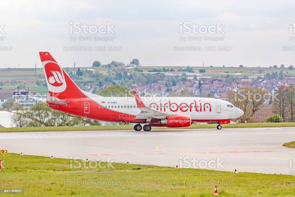 Air Berlin Boeing 737 at runway before takeoff stock photo