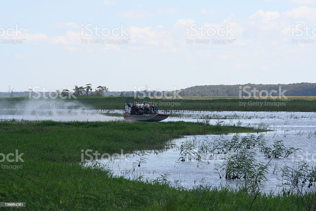 Air boat flying stock photo