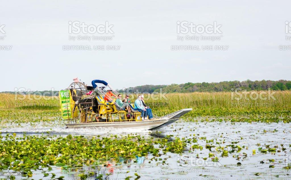 Air boat on Florida lake stock photo