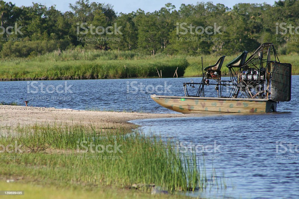 Air Boat on shore stock photo