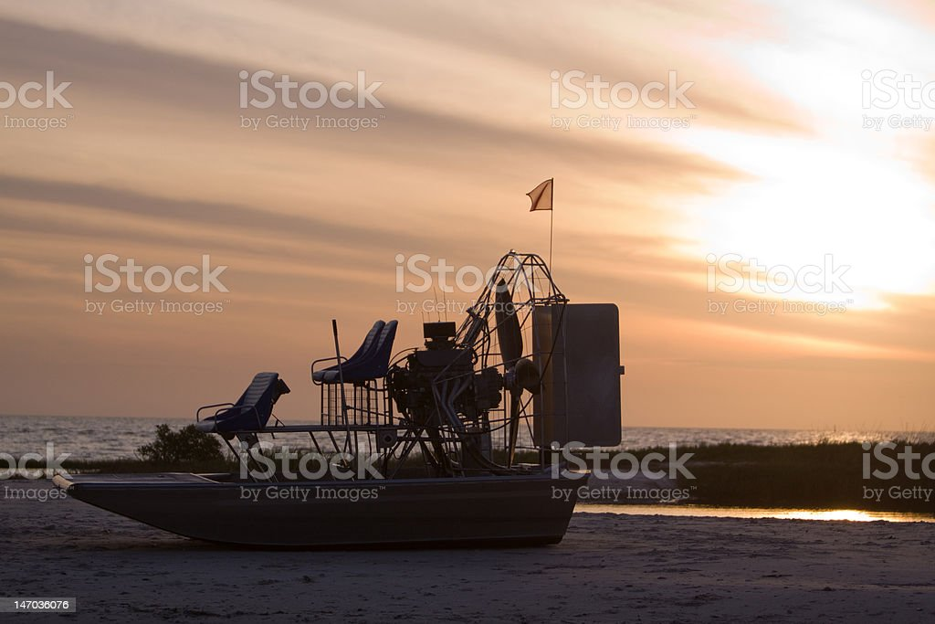 Air boat on the Sand stock photo