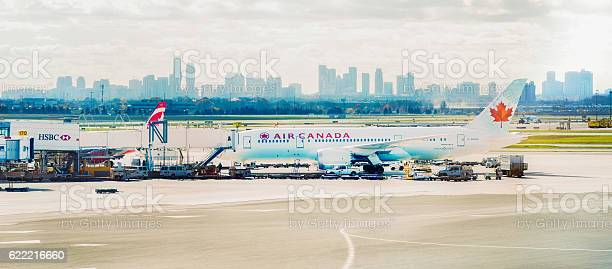 Air Canada Bowing 787 Being Loaded At Airport Panorama Stock Photo - Download Image Now