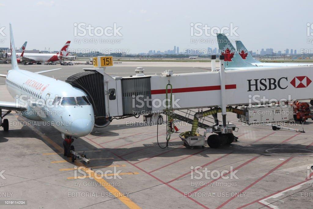 Air Canada Plane Boarding at Toronto Pearson International Airport stock photo