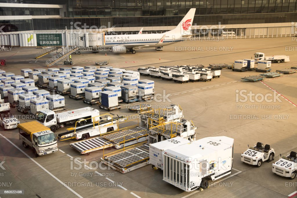 Air cargo unit load devices at Narita International Airport stock photo