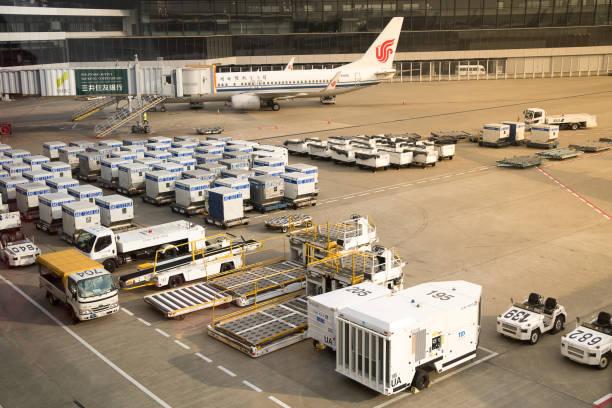 Air cargo unit load devices at Narita International Airport stock photo