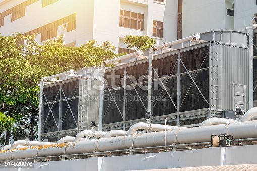 istock HVAC Air Chillers on Rooftop Units of Air Conditioner for Large Industry Air Cooling system 914520076