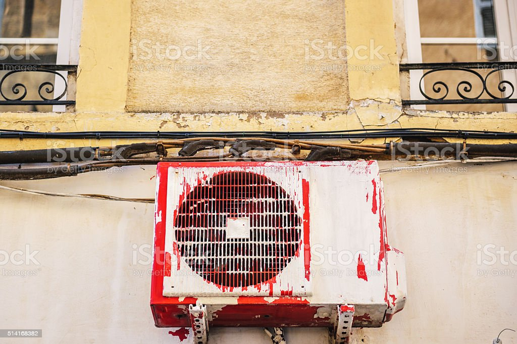 Air compressor installation on pedestal stock photo
