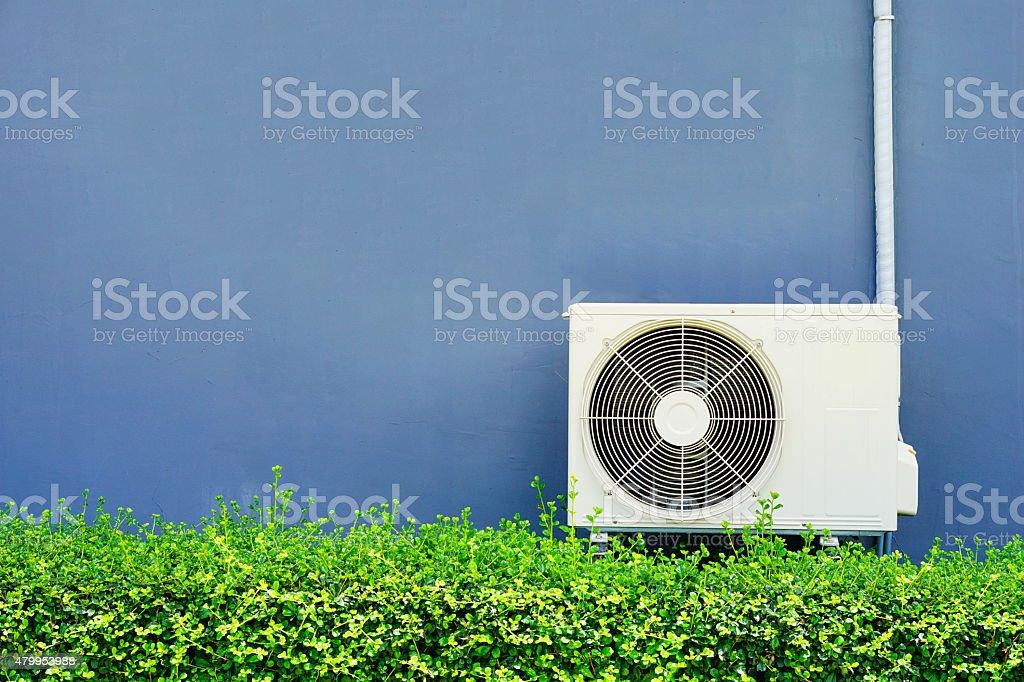 Air compressor installation on pedestal.outdoor. stock photo