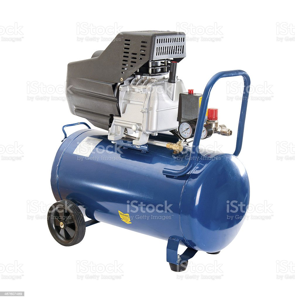 air compressor. Isolated on white background stock photo
