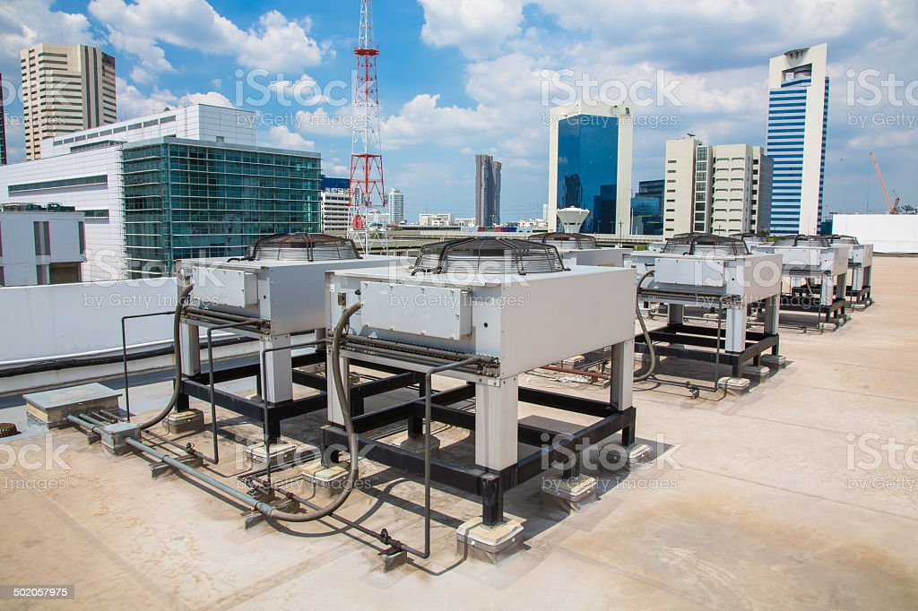 Air compressor on the Building stock photo