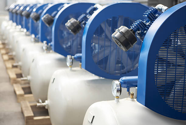 Air compressor Air compressores with close-up and perspective compressor stock pictures, royalty-free photos & images