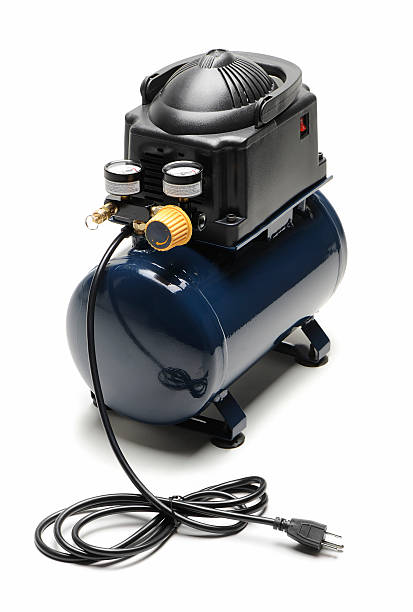 """Air compressor """"Blue and black portable air compressor with power cord,  isolated on white. Other picture..."""" compressor stock pictures, royalty-free photos & images"""