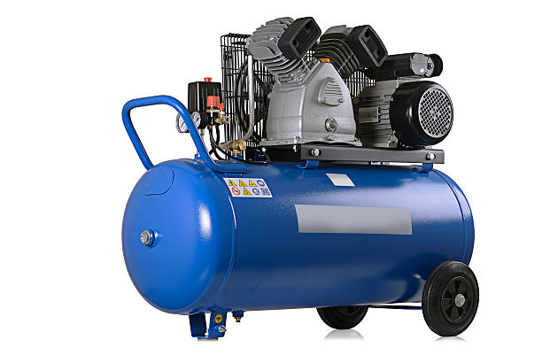 air compressor New air compressor on a white background. compressor stock pictures, royalty-free photos & images