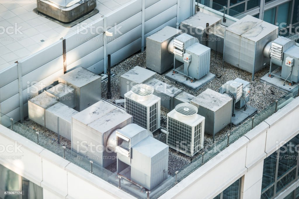 Air condition system on the building roof toop stock photo