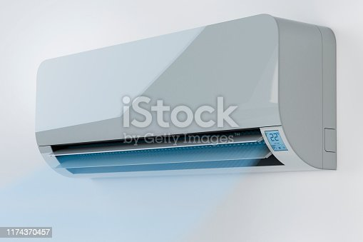 istock Air conditioner and cold temperature concept 1174370457
