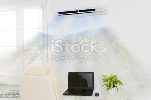 istock Air conditioner blowing cold air. 497493176
