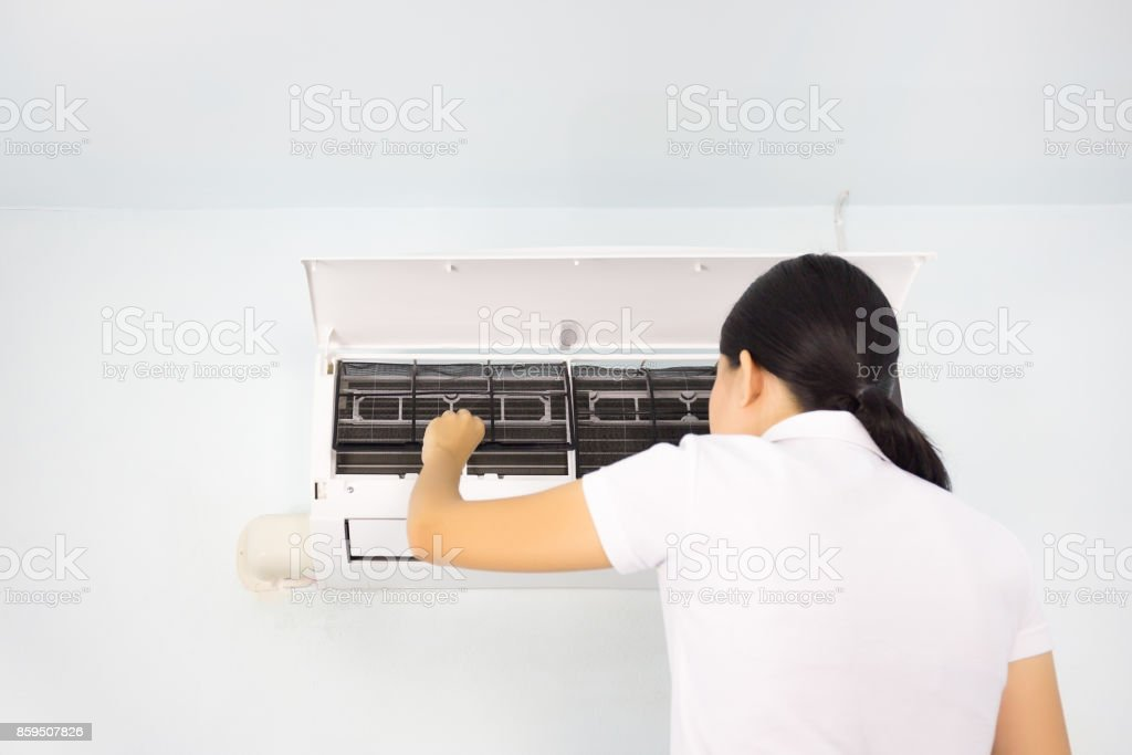 air conditioner check stock photo