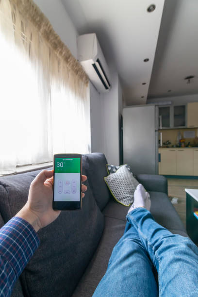 Air conditioner control from your phone stock photo