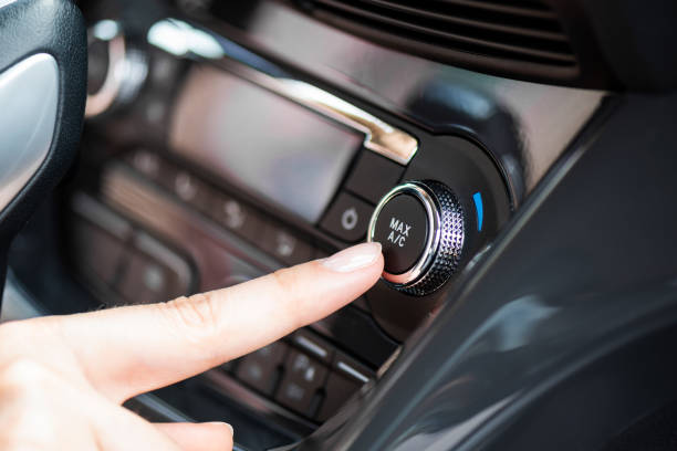 Air conditioner control panel, car cooling system stock photo