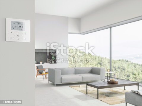 istock Air conditioner controller on wall in livingroom 1138991338
