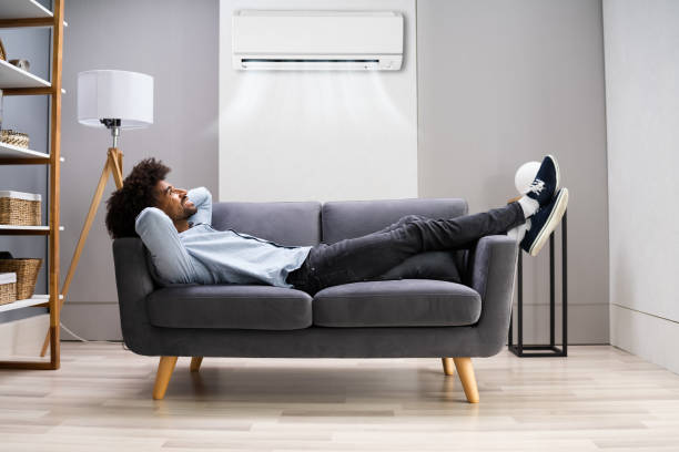 Air Conditioner In Living Room At Home stock photo