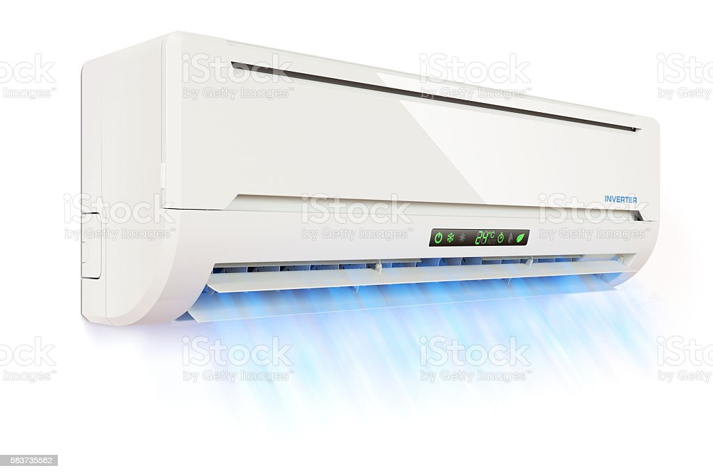 Air conditioner indoor unit with the cold air flow stock photo