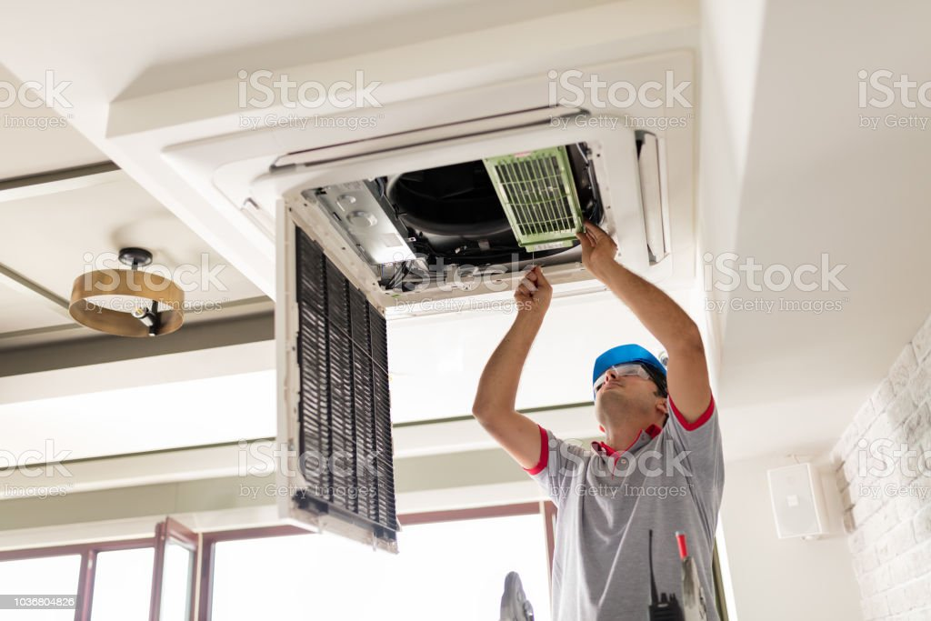 Air conditioner install stock photo