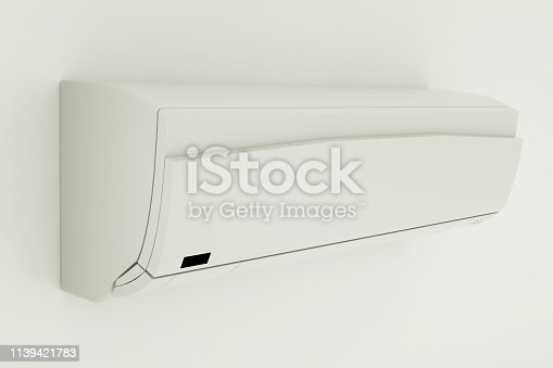 istock Air Conditioner Isolated on White Wall. 3D rendering 1139421783