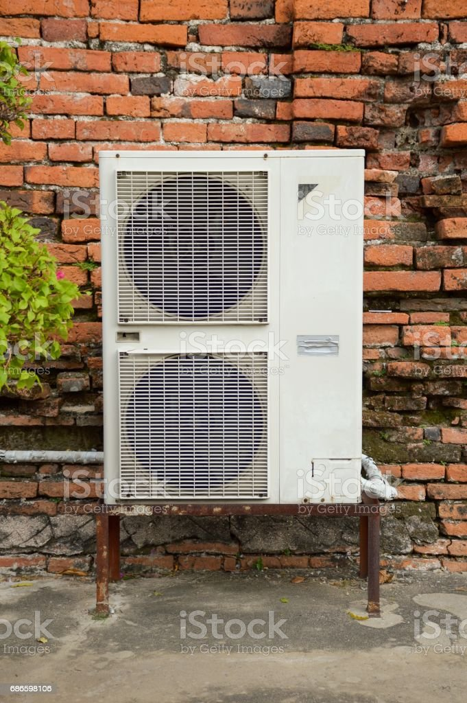 air conditioner on cement floor royalty-free stock photo